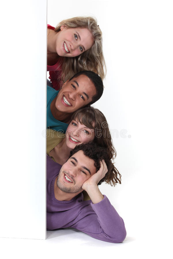 Friends Laying By Advertising Stock Photos