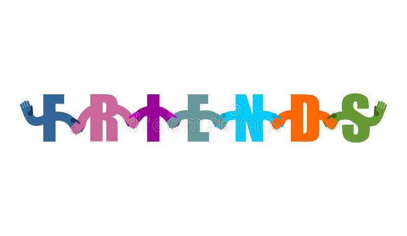 Friends lettering. friendship Logo. Letters holding hands handshake vector illustration