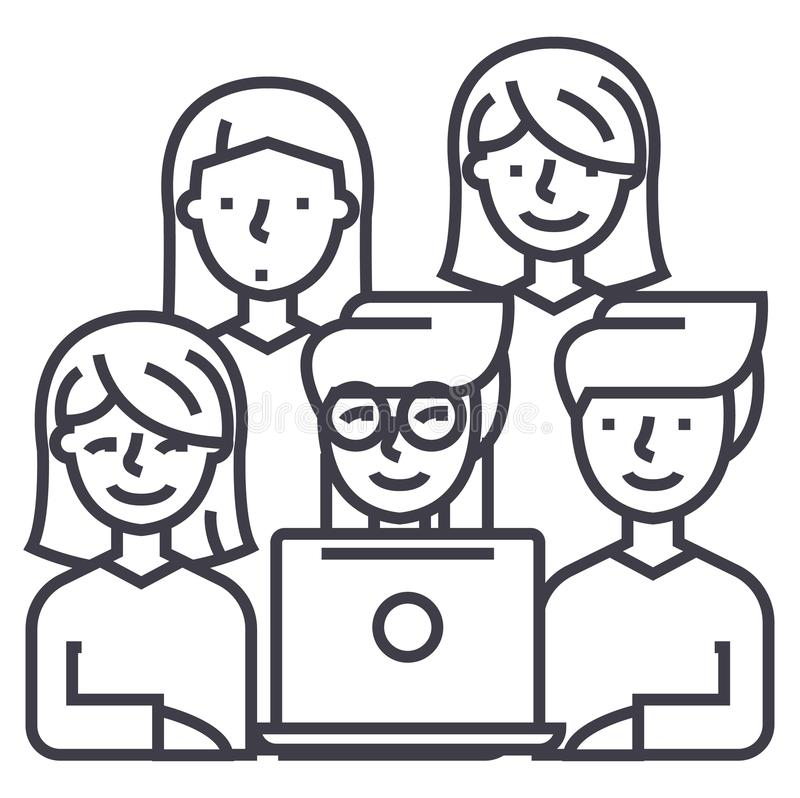 Friends looking at notebook vector line icon, sign, illustration on background, editable strokes royalty free illustration
