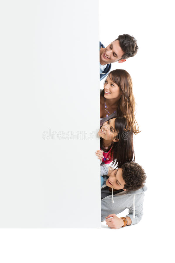 Download Friends Looking At Placard stock image. Image of looking - 29639027