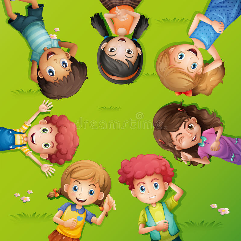 Friends lying back in circle. Illustration royalty free illustration