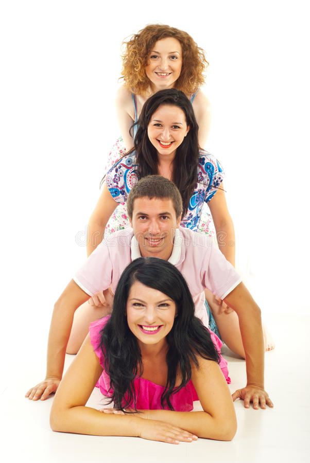 Download Friends Lying On Top Of Each Other Stock Image - Image: 20358415
