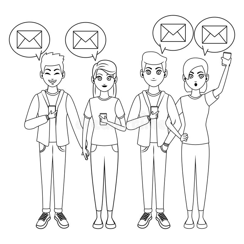 Friends mailing from smartphones. In black and white vector illustration graphic design stock illustration
