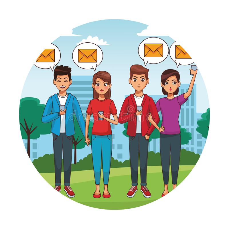 Friends mailing from smartphones. At city park round icon vector illustration graphic design stock illustration