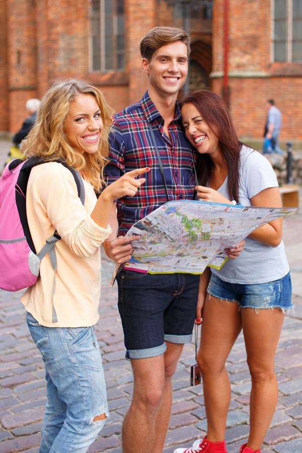 Download Friends With Map Stock Image - Image: 36548861