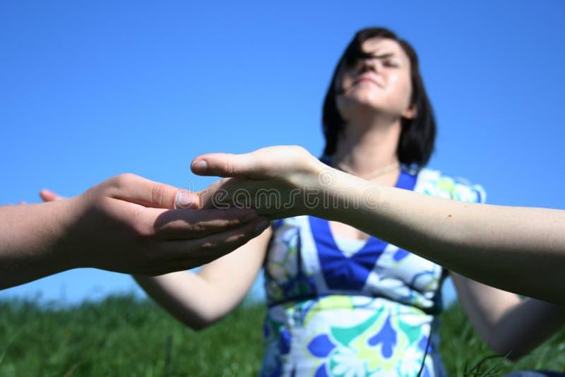 Friends meditation stock photography