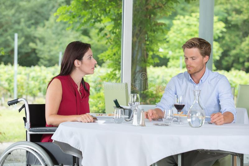 Friends meeting on lunch date stock photography