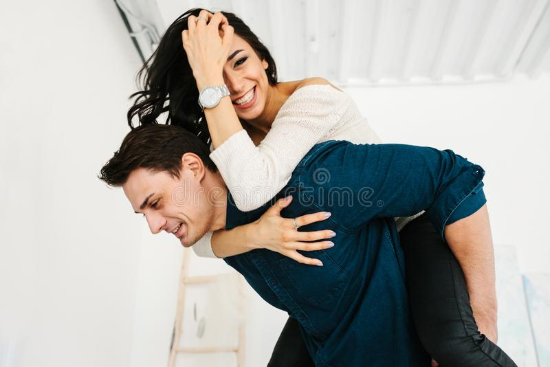 Friends of a man and a woman having fun. Friendship, rest, time together, fool around. Friends of a men and a women having fun. Friendship, time together, fool royalty free stock images