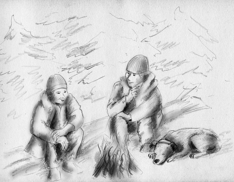 Friends near the fire royalty free illustration
