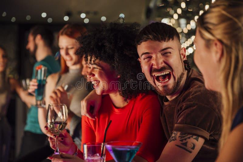 Friends In A Nightclub stock photos