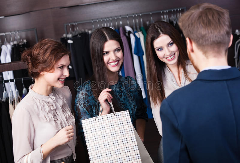 Download Friends Occasional Meeting In The Shop Stock Image - Image: 26188319