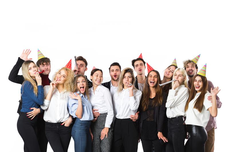 Friends at a party isolated on white. stock images