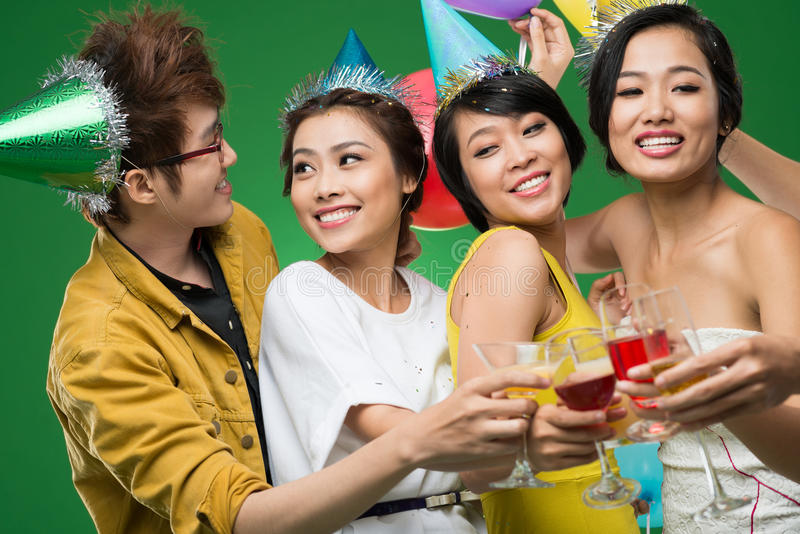 Friends at party. Teenagers having fun at party royalty free stock photos