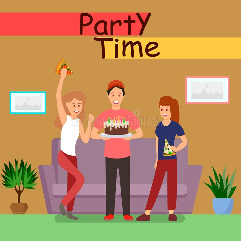 Friends Party Time Poster Flat Vector Template vector illustration