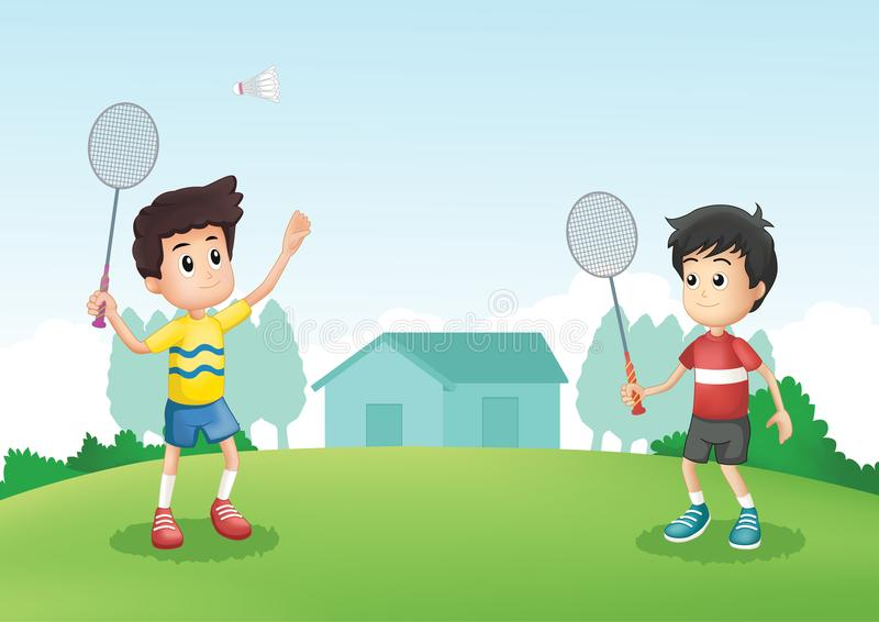 Friends play badmindon in backyard. Two friends play badminton in backyard. Colorful for multiple purpose royalty free illustration