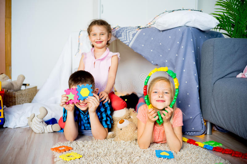 Friends in a play tent stock photo
