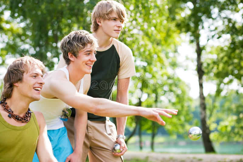Friends playing boule royalty free stock image