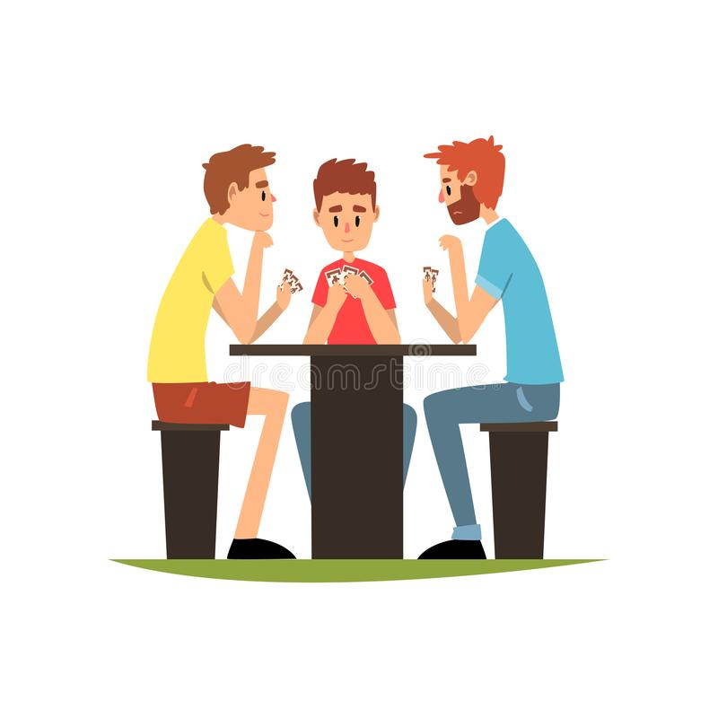 Friends playing cards sitting at the table, men having good time together vector Illustration on a white background stock illustration