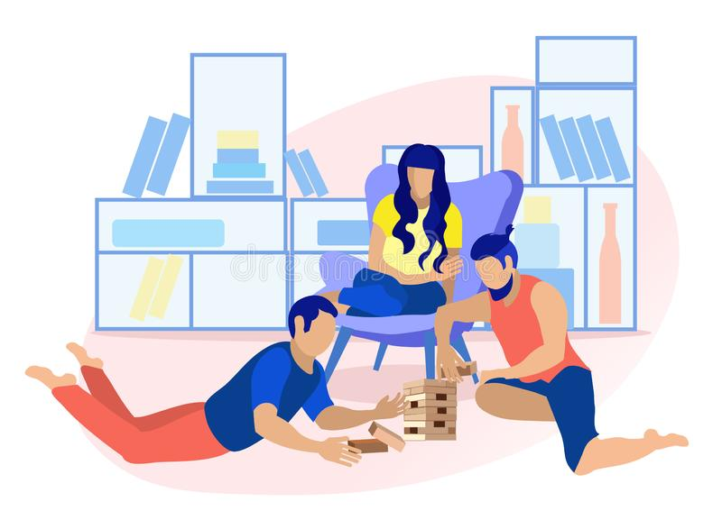 Friends Playing in Wood Block Game Flat Cartoon vector illustration