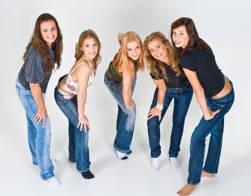 Friends posing in studio