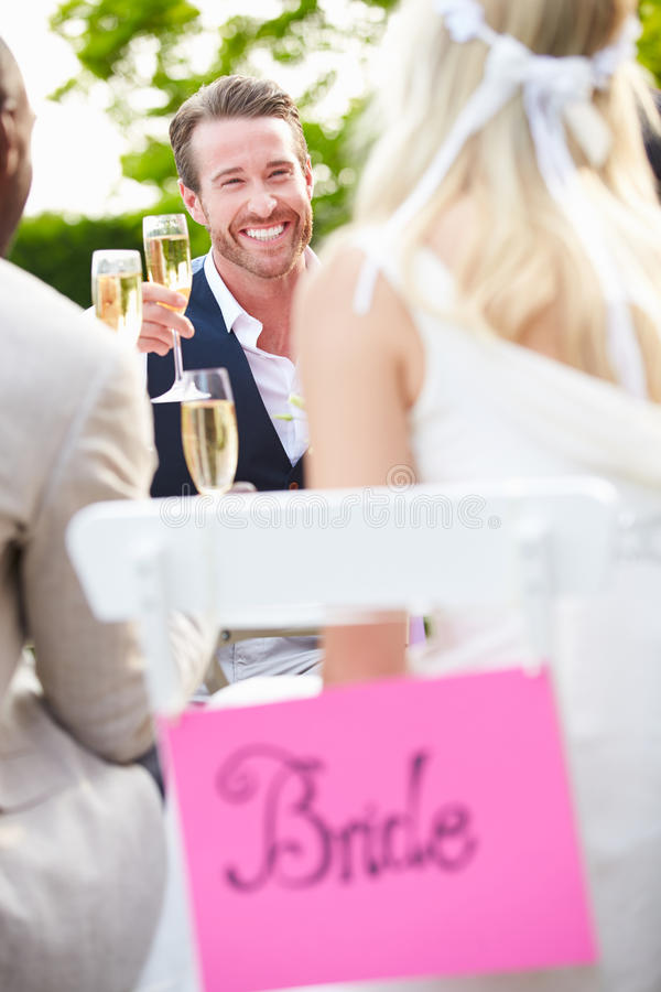 Friends Proposing Champagne Toast At Wedding. Holding Glass Of Champagne stock image