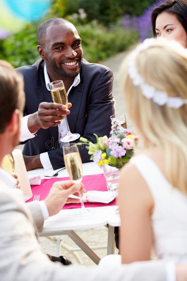 Friends Proposing Champagne Toast At Wedding. Sitting Down Outside royalty free stock photography