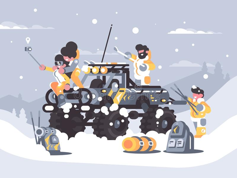 Friends rest in winter in mountains vector illustration