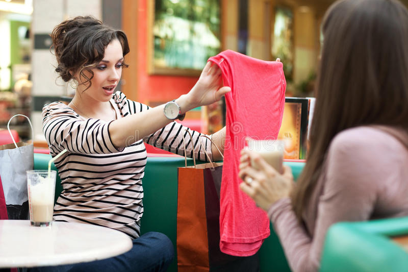 Friends after shopping stock photo