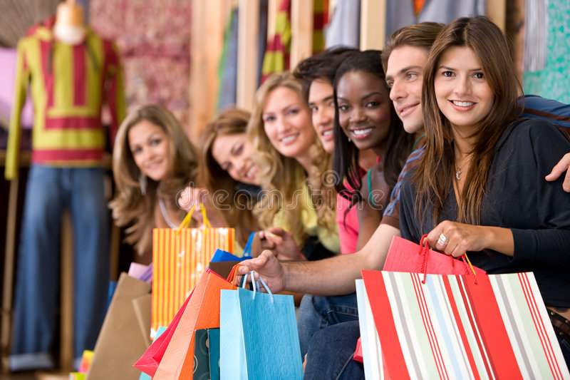 Download Friends shopping stock image. Image of sale, shopper, pretty - 7292817