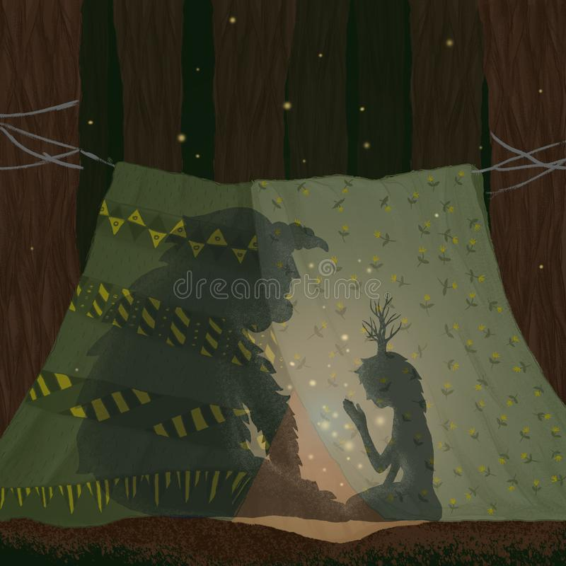 Friends are sitting in a hut of blankets and telling tales. A girl and a forest tanner in a tent of magic and history. In the fore stock illustration