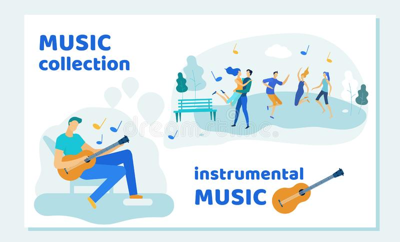 Friends Spend Time in Park Listening Guitar Music. Friends Spend Time in Park Listening Instrumental Music Collection Playing on Guitar. Friendship, Summertime royalty free illustration