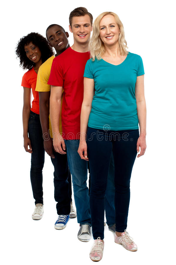 Friends Standing Behind Beautiful Caucasian Woman Royalty Free Stock Photo