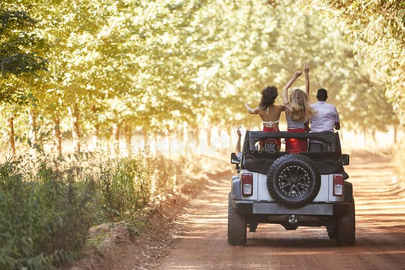 Friends standing in an open top car, back view stock photos