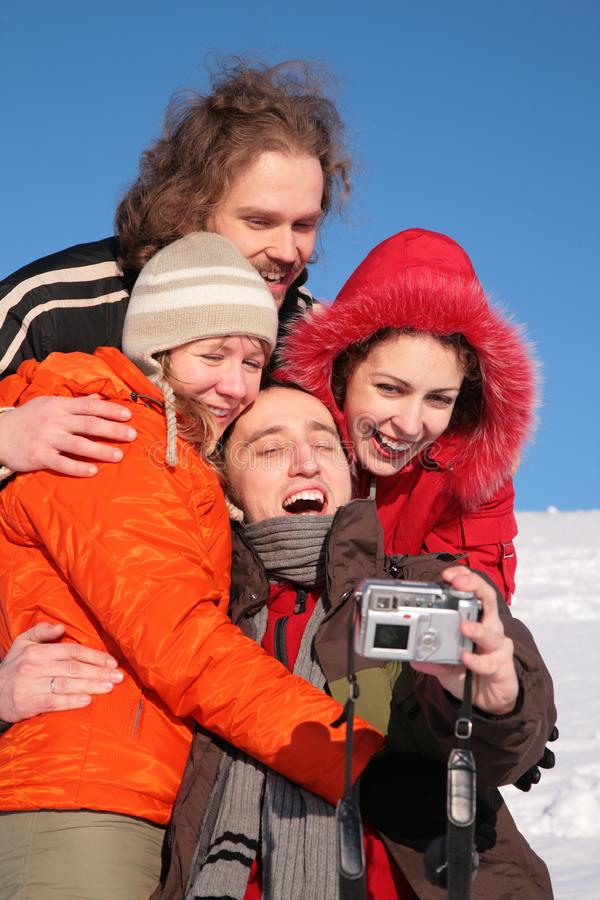 Friends taking self-portrait royalty free stock photography