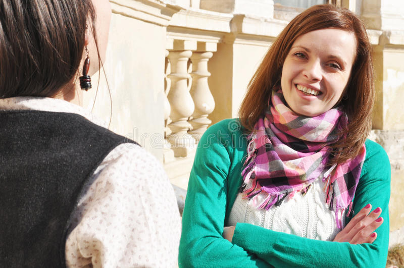 Download Friends talking outside stock image. Image of best, ladies - 18505153