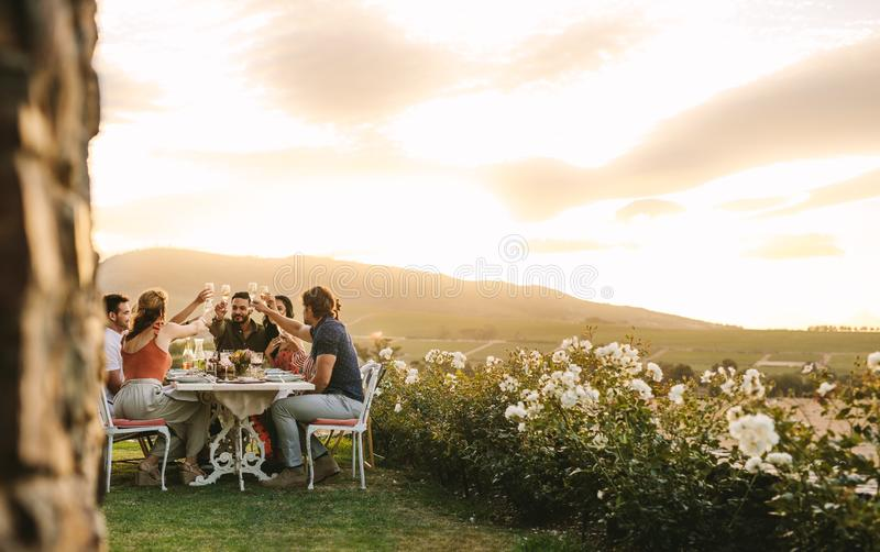 Friends toasting champagne at dinner party stock photos