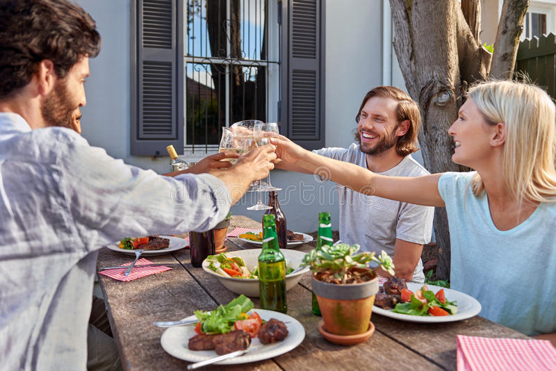 Friends toasting. Group of friends toasting to celebration with drinks at garden outdoors party stock image