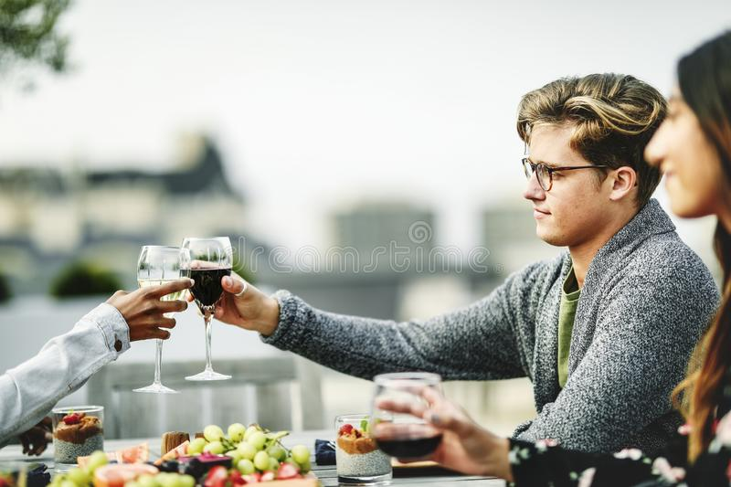 Friends toasting at a rooftop vegan dinner party royalty free stock image