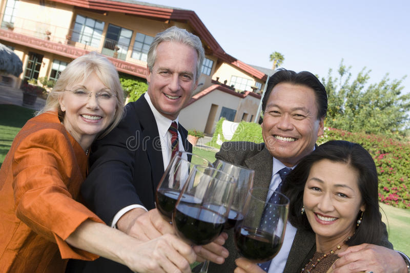 Friends Toasting Wine Together royalty free stock photography