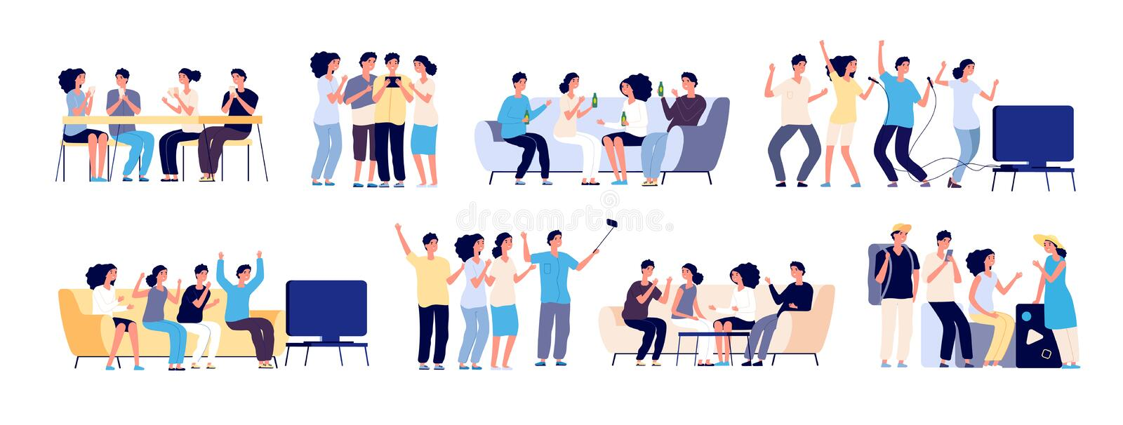 Friends together. Friendship between people. Smiling best friends spending time relaxing and talking. Flat vector vector illustration