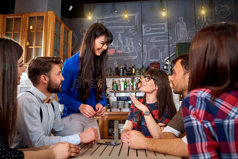 Friends together spend a fun time, smile and laugh stock photography