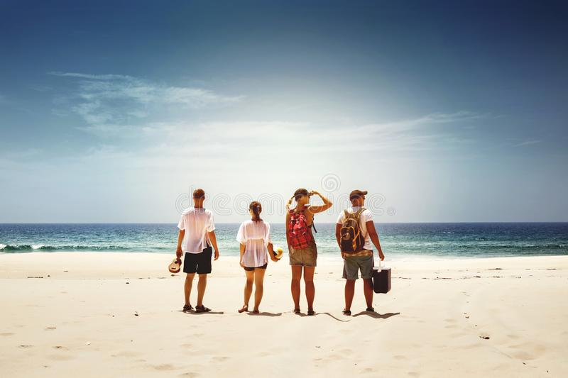 Friends travel beach sea concept royalty free stock photography