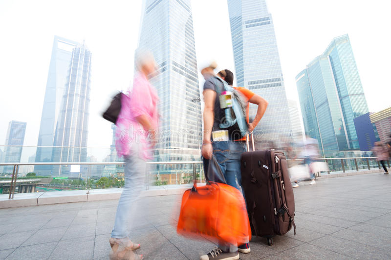 Friends traveling in shanghai royalty free stock photography