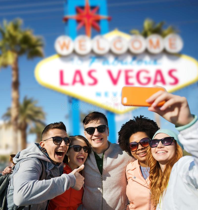 Friends travelling to las vegas and taking selfie stock photography