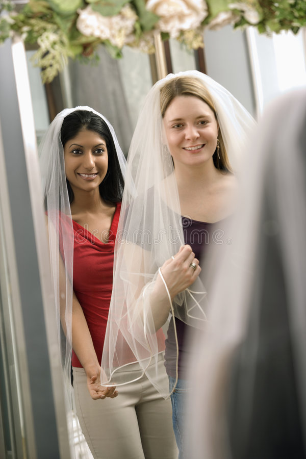 Free Friends Trying On Veils. Royalty Free Stock Image - 2542946