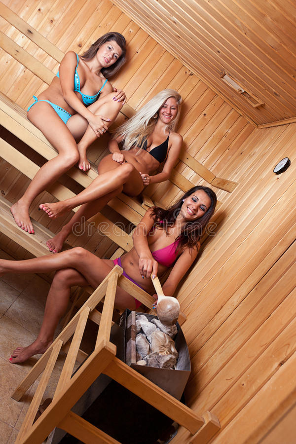Friends Using Sauna Royalty Free Stock Photo