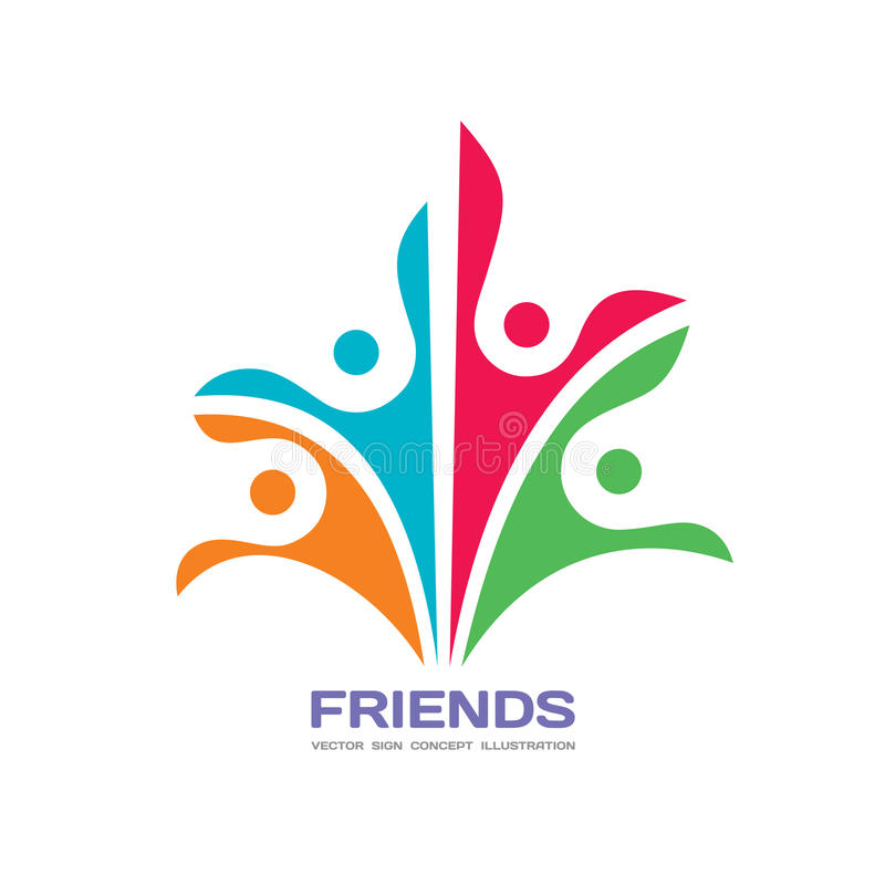 Friends - vector logo template concept illustration. Human character abstract sign. Happy people family symbol. Social media union royalty free illustration