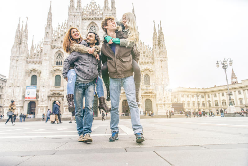 Friends visiting city stock photos