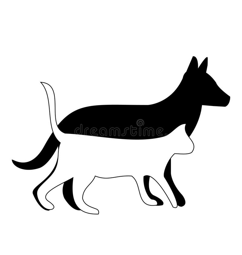 Download Dog And Cat Logo Friends Walking Stock Vector - Image: 25696951