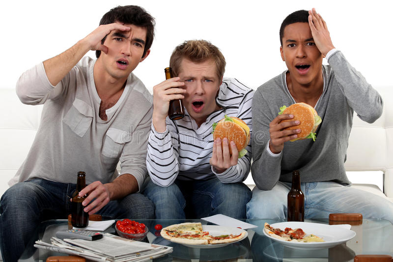 Download Friends Watching A Football Game Stock Photo - Image of defeat, friends: 28641172